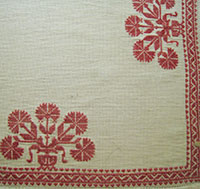 detail of Saxon Carnation tablecloth