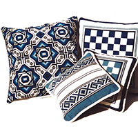 Blue & White Pillows in the cross-point Collection