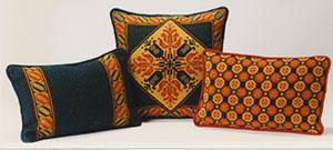 color coordinated pillows: Tulip & Tulip Border 01, Honeycomb 01 colors