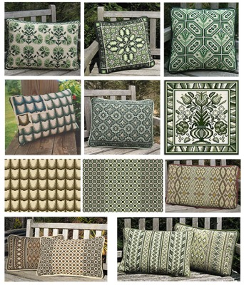 A selection of cross-point pillows in Mountain & Wood colors