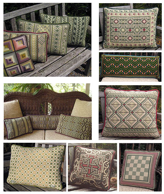 a collection of cross-point pillows in Mountain & Wood colors