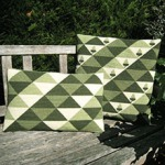 Triangles pattern in soft greens