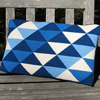 Triangle back pillow in blues