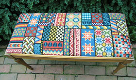 Sampler pattern on piano bench
