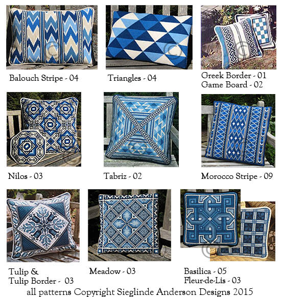 a small selection of blue and white pillows